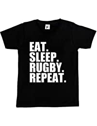 Fancy A Snuggle Eat. Sleep. Rugby. Repeat. Kids Boys / Girls T-Shirt