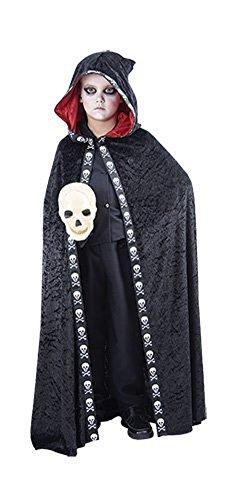 Kinder Kinder Halloween Schädel Kapuzen Kap Kostüm Alter 4-12 Jahre (Groß (Age 10-12 Years), (Harley Quinn 2017 Kostüm)