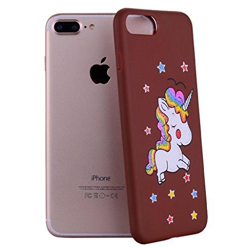 """Hülle für Apple iPhone 7 Plus , IJIA Rein Schwarze Niedlich Einhorn TPU Weich Handytasche Silikon Stoßkasten Handyhülle Cover Schutzhülle Schale Case Tasche für Apple iPhone 7 Plus (5.5"""") brown"""
