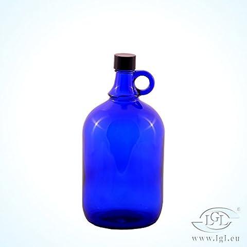Bouteille en verre carafe à eau bleue 2L avec bouchon
