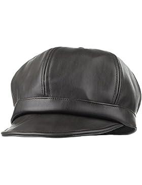EOZY-Vintage Cappello Visiera Bambini Ragazzi PU Pelle Baschi Ottagonale Berretto