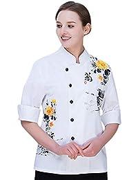 Dooxii Unisex Donna Uomo Autunno Manica Lunga Giacca da Chef Traspirante  Ristorante Occidentale Torta di Cottura 39a4f09b73fd