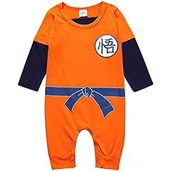 Askong Baby Boys Halloween Cosplay Dragon Ball Z Son Goku - Pelele de Manga Larga para niños de 3 Meses a 3 años Naranja Naranja 6-12 Meses