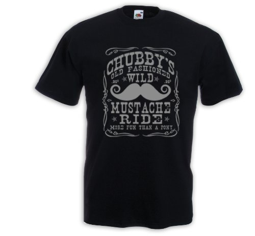 T-Shirt Western Chubby´s Mustache Bart Vintage Rockabilly Tattoo Schwarz