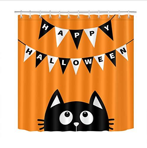 Fandhyy Duschvorhang Bad Wasserdichtes Gewebe 12 Haken Bad Zubehör Sets Schwarze Katze Nachschlagen Bunting Flag Happy Halloween