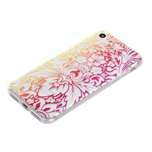 Qiaogle Téléphone Coque - Soft TPU Silicone Housse Coque Etui Case Cover pour Apple iPhone 7 (4.7 Pouce) - DD05 / Mandala Leaves Fleur DD11 / Phoenix fleur