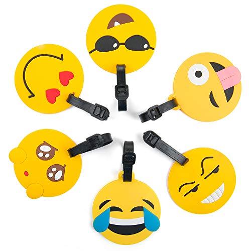 Remebe 6 Pièce Emoji Étiquettes de Bagage de Voyage, Étiquettes Valise, Accessoires Voyage, Porte-étiquettes d'identification de PVC pour Le Sac à Dos, Porte-étiquettes d'étiquette d'identification