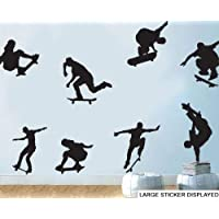 Skateboard Silhouette Pack of 8 Wall Art Vinyl Stickers - PLEASE CHOOSE YOUR SIZE & COLOUR USING THE MENU BELOW - Medium Pack Size 58cm x 58cm Black