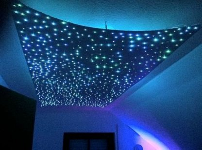 Sternenhimmel LED Set Beleuchtung Ultra IRXS, 160 Lichtfasern 0,75 mm, inkl. Projektor und Infrarot-Fernbedienung, 50% weiß, 50% blau mit Sprühkleber zur Montage
