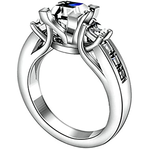 Daesar Joyería Compromiso Anillo de Plata, Sortija para Mujer Boda Banda Personalizado Halo de Diamante Imitación con 4 Garras 3