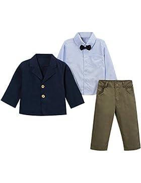Le SSara Pezzo di elegante gentiluomo Striped Shirt & giacca & pantaloni 3 ragazzi abiti