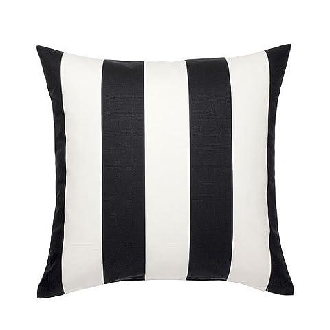 IKEA VARGYLLEN Kissenbezug in schwarz/weiß; 100% Baumwolle; (50x50cm)