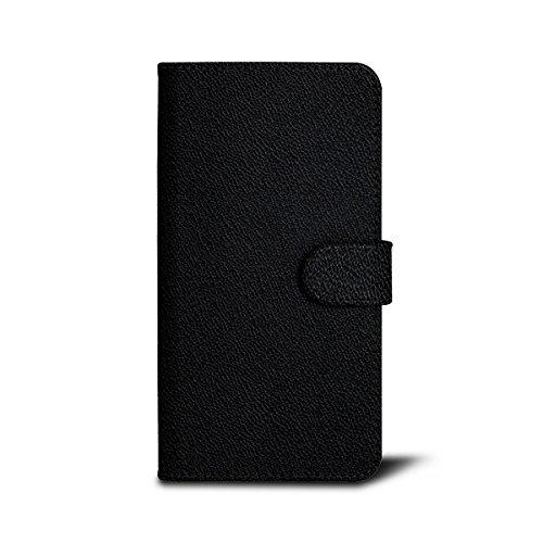 Lucrin - Étui Portefeuille pour iPhone 7 Plus - Noir - Cuir de Chèvre Noir