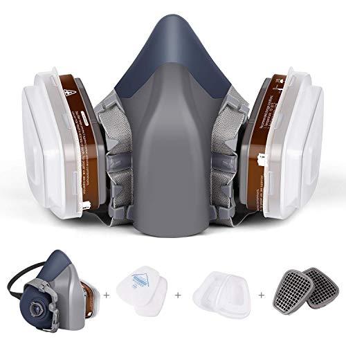 Atemschutzmaske mit Doppelfilter Patronen Halbmaske zum Schutz der Augen vor Staub, Gasmaske Staubschutzmaske Organische Dämpfe, Chemikalien-Atemschutzmaske, Schutzstufe PM 3.0
