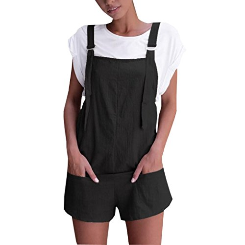 SMILEQ® Women Elastic Waist Dungarees Linen Cotton Pockets Rompers Playsuit Shorts Pants