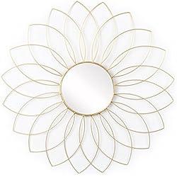 Espejo Flor, Metal, Color Dorado, Forma de Flor. Estilo nórdico. 58x58x1 cm.