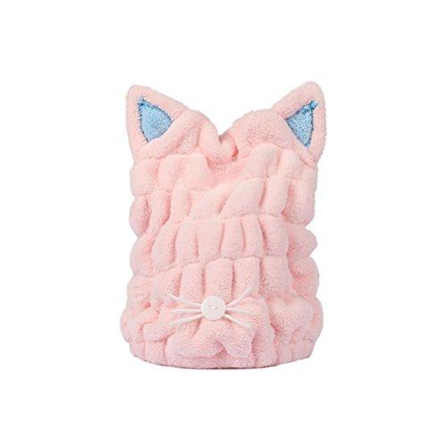 Frcolor Katze Ohr trockenes Haar Hut Korallen Fleece Bad Kopf Handtuch Haar Turban Handtuch wickeln für langes Haar (Pink)