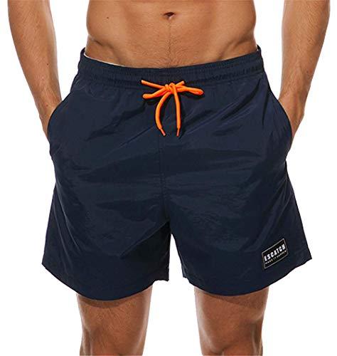 KISSMODA Herren Wasserdichte Badehose Beach Daily Outwear Gym Shorts Bademode Boardshorts Navy