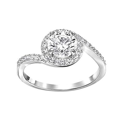 Swarovski Damen-Ring Platiniert Kristall transparent Rundschliff 5221411