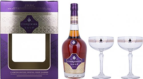 Courvoisier Vsop Fine Cognac con 2 Bicchieri da Cocktail - 700 ml