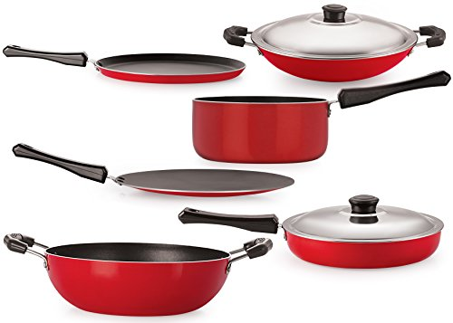 Flat Base Nonstick Cooking Pan and Pot Utensils Combo Kitchen sets