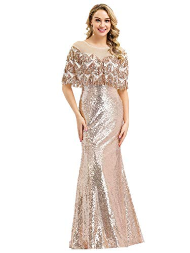 Ever-Pretty Vestito da Festa Donna Sirena Girocollo Paillettes Sera e Cerimonia Lungo Oro Rosa 36