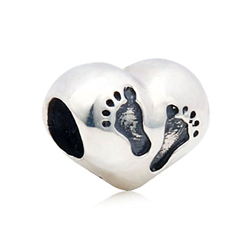 Baby Fuß drucken 925 Sterling Silber Charms passen Armband für neue Mutter herzförmigen - Silber Sterling Girl Baby Charm