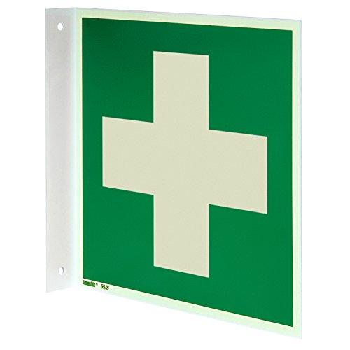 Erste Hilfe Fahnenschild, Hart-PVC langnachleuchtend, 200 x 200 mm gemäß ASR A1.3 / ISO 7010 E003, Rettungszeichen Schild, 20 x 20 cm