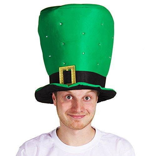 BLINKENDER GRÜNER ZYLINDER HUT MIT EINER SCHNALLE=ERHALTBAR IN VERSCHIEDENEN STÜCKZAHLEN= VON ILOVEFANCYDRESS®==1 HUT (Fancy Dress Dublin)