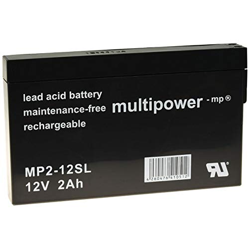 akku-net Batteria al Piombo (multipower) MP2-12SL Compatibile con YUASA NP2-12, 12 V, Lead-A