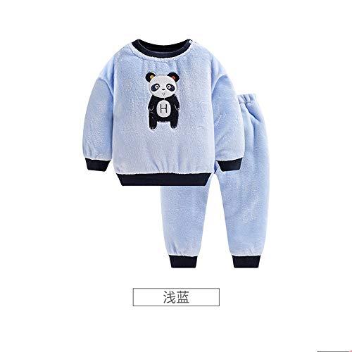 OPPP Kinderschlafanzug Kinder Baby Pyjamas korallenroter Samt Herbst und Winter tragen Baby Home Service Anzug Jungen und Mädchen Flanell Winter warme Kleidung, 100 cm - Gedruckt Flanell-hose