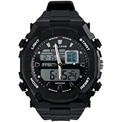 Dual Display Wristwatch Digital and Analogue Watch / Sports Watch - All Black Fitness watch with Stopwatch and Backlight