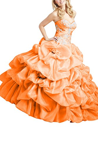 Gorgeous Bride Modisch HerzAusschnitt Lang Ballon Organza Blumen Abendkleid  Ballkleid Orange