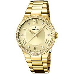 University Sports Press F16720/2 - Reloj de cuarzo para mujer, con correa de acero inoxidable chapado, color dorado