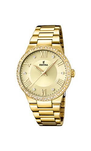Festina Women's Quartz Watch with Gold Dial Analogue Display and Gold Stainless Steel Plated Bracelet F16720/2