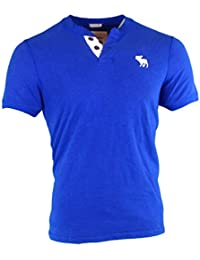 Abercrombie - Homme - Muscle Fit Contrast Henley Tee T-Shirt Top - Manche Courte