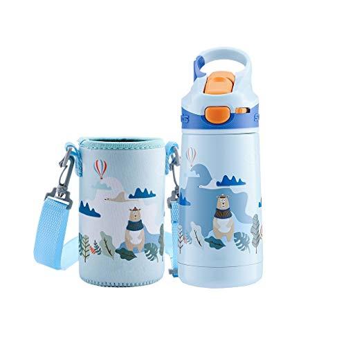 400ml Kleine Wasserflasche für Kinder Edelstahl Sport Auslaufsichere BPA-freie Thermos Tasse für heiße und kalte Getränke mit Stroh Student Portable (Color : Blue-b) -
