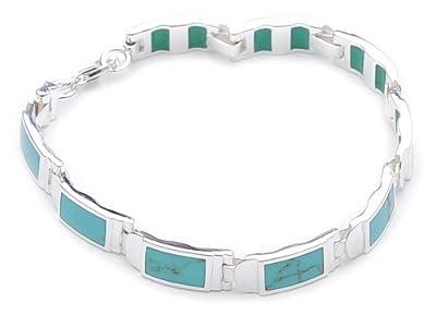 Türkis - Armband 925 Sterling-Silber ca. 17,5 cm