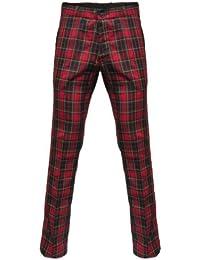 Relco - Pantalon en tartan style Sta-Press - mod - rouge/vert - tailles US 26-40