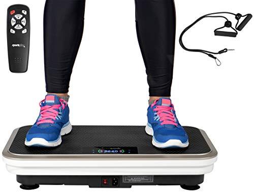 SportPlus Profi Vibrationsplatte inkl. Fernbedienung & Trainingsbänder, starker & leiser 200 Watt Motor, 99 Geschwindigkeitsstufen, 5 Trainingsprogramme, 120kg Nutzergewicht, Sicherheit geprüft