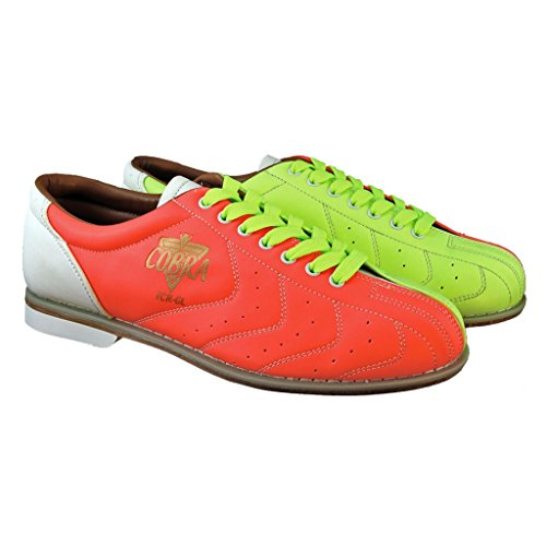 Glow TCRGL Damen Bowlingschuhe Cobra Rental Schnürsenkel, Neongelb/orange/Weiß, 7 Monate -