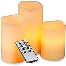 ALED LIGHT® Las velas sin llama eléctrica Conjunto, color llevado que cambia la batería Operado velas hechas fuera de la cera verdadera, control remoto de funciones múltiples con temporizador, romántica vela cubierta de seguridad (Blanco cálido)