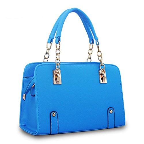 Sacchetti di spalla delle borse di cuoio dei sacchetti di Tote di modo delle signore delle nuove donne di disegno caldo di lusso Blu