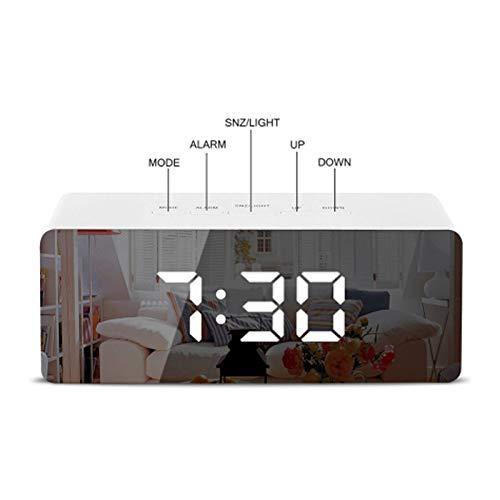 SMAERTHYB USB Led Multifunción Espejo Despertador Digital Espejo De Maquillaje Alarma Y La Función De La Siesta Espejo Reloj Interior Termómetro Noche