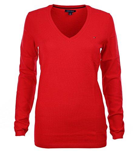 Tommy Hilfiger Damen V-Neck Pullover Pulli rot Größe M