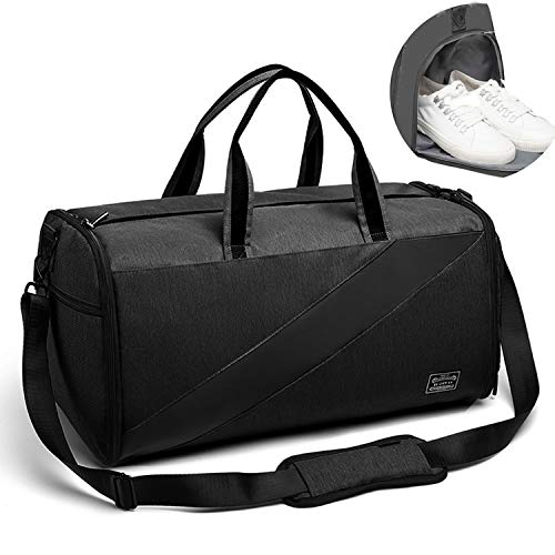 Valleycomfy Sporttasche Anzugtasche Trockene Nassabscheidung Große Kapazität Mit Schuhen Tasche Hand/Schulter/Umhängetasche Fitness Gepäcktaschen, 50L, Generation 3 (Schwarz)