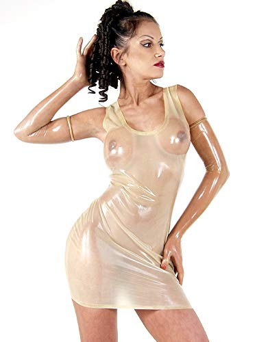 eid transparent Mini Body 100% Latex Gummi Catsuit Rock (XXS(B80 W64 H82 cm)) ()
