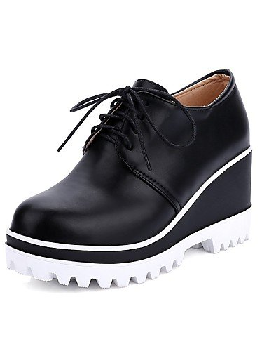 WSS 2016 Chaussures Femme-Bureau & Travail / Décontracté-Noir / Rose / Rouge / Blanc-Talon Compensé-Compensées / Bout Arrondi-Chaussures à Talons- black-us6.5-7 / eu37 / uk4.5-5 / cn37