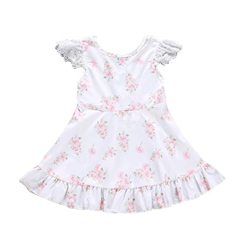 Puseky Kinder Baby Mädchen Lace White Rose Print Kleid Sommer Cute Swing Dress (Color : White, Size : 4-5Y)