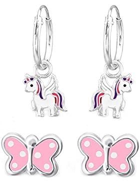 SL-Silver Set aus Kinderohrringen Creolen Einhorn und Schmetterling 925 Silber in Geschenkbox